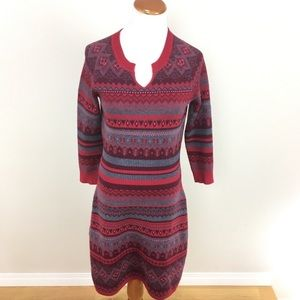 Athleta Fara Fair Isle Red Sweater Knit Dress